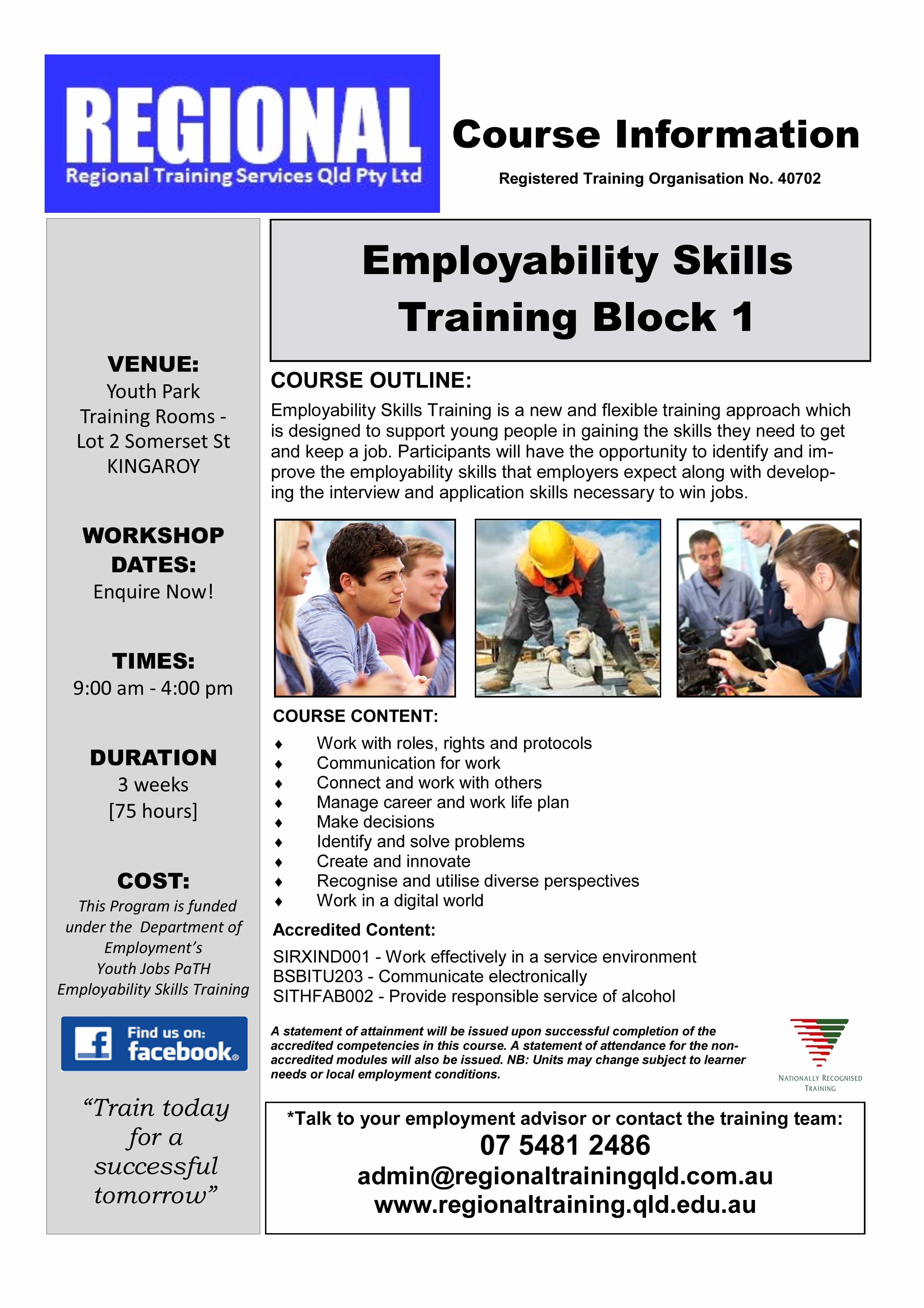 south burnett ctc employability skills workshops est kingaroy flyer